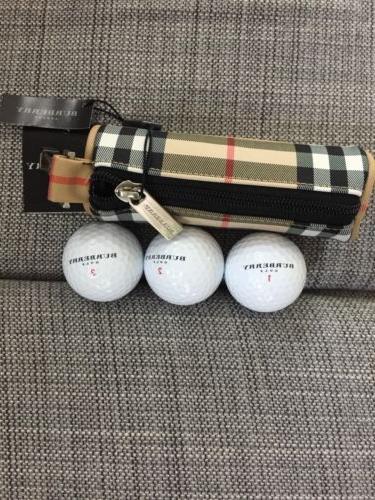 New Burberry Golf Set of 3 Golf Balls with Bag