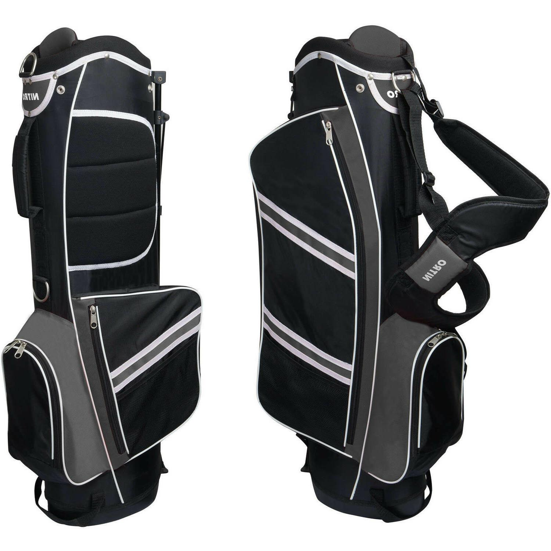 nitro lightweight stand golf bag black silver