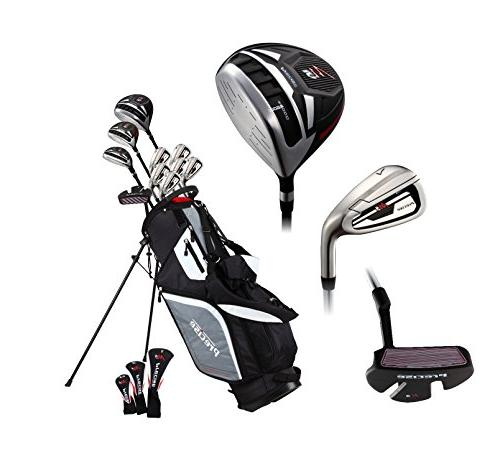 Top Line Men's Right Handed M5 Golf Set Driver, 6, 7, 8, PW Stainless Steel Irons with Temper Steel Shaft, Deluxe Bag & 3 Headcovers
