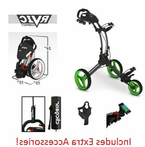 Clicgear Rovic RV1C Push Cart-Charcoal/Lime