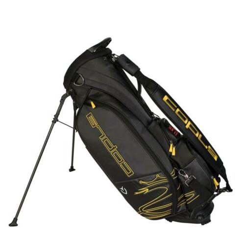 tour crown stand golf bag black yellow