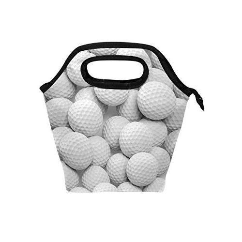 white golf balls lunch bag