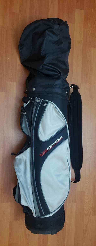 x9 golf bag with 10 golf clubs