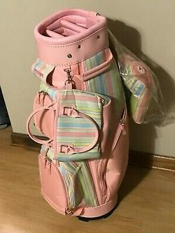 Precept Ladies Pink Cart Golf Bag Matching Headcover Set & P