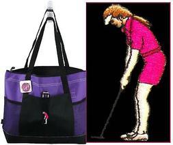 Lady Golfer Monogram Bag Purple Gemline Zip Tote Woman Golfi