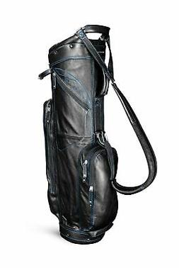 SUN MOUNTAIN LEATHER CART GOLF BAG - BLACK-COBALT