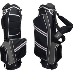 Lightweight Stand Golf Bag Organized with Rain Hood Black/Si