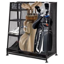 Goplus Metal Dual Golf Organizer Golf Bags Tees Hats Shoes S