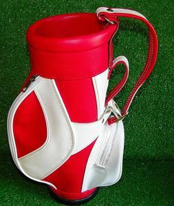 "Mini Red White Golf Bag Leather 14"""