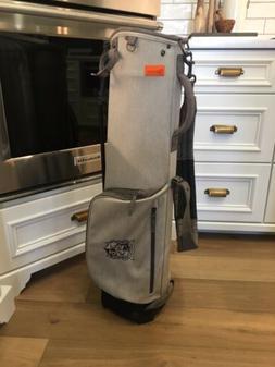 Mint! Stitch SL1 Grey Fabric Leather Golf Bag With Rain Cove
