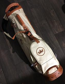 New Peter Millar Crown Stand Golf Bag Brown Leather Canvas I