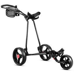 New Foldable 3 Wheel Golf Pull Push Cart Trolley Scorecard D