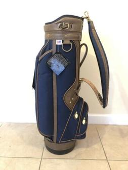 NEW Burton Golf Cart Bag Brown Leather / Navy Canvas Adare G