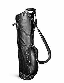 New Sun Mountain Golf- Leather Sunday Bag Black/White G82366