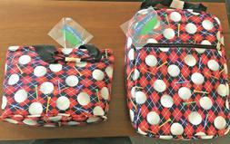 Pair of MARLO SPORT TOTES Women's Golf Tee Argyle Bag Shoppe