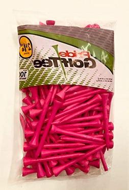 """Pride Golf Tee Birch 2 3/4"""" Tees 3x100 Ct Bags Pink"""