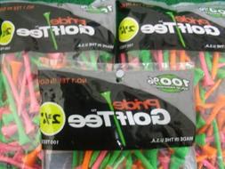 "Pride Golf Tee Birch 2 3/4"" Tees 3x100 Ct Bags Citrus Mix"