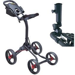 Bag Boy Quad XL 4-Wheel Golf Push Cart Black/Red with Free B