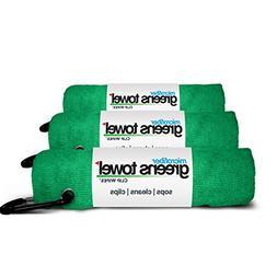 3 Pack of Shamrock Green Microfiber Golf Towels