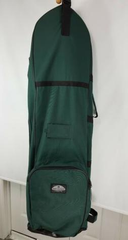 sport green large wheeled padded golf bag