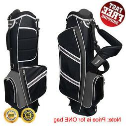 Stand Golf Bag Black/Silver Lightweight with Rain Hood Handy