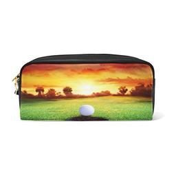 ALAZA Sunset Tropical Landscape Golf Ball PU Leather Pen Pen