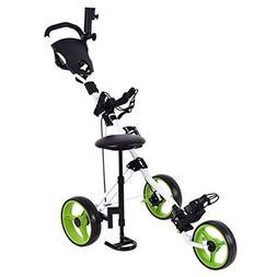 Tangkula Golf Cart Swivel Foldable 3 Wheel Push Pull Cart Go