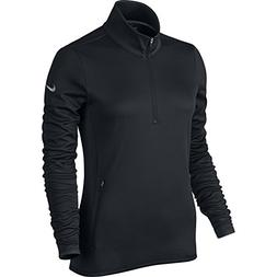 NIKE Women's Thermal 1/2 Zip Top,Black/Black/Wolf Grey, X-Sm