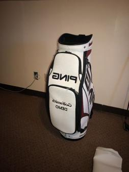 Ping Tour Staff Golf Bag, & New Rain Cover. White/Black/ Red
