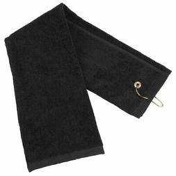 Tri-fold Golf Towel with Carabineer Bag Clip, Cotton Terry C
