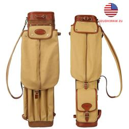 Tourbon Vintage Canvas Golf Stand Carry Bag Sunday Golf Bag
