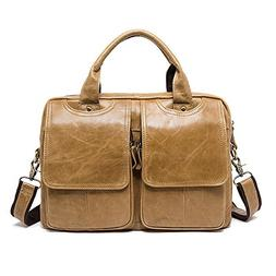 Amyannie Vintage Leather Briefcase for Men Tote Business Mes