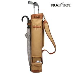 Tourbon Waterproof Canvas Golf Bag 3-Way Sunday Clubs Carry