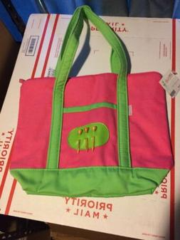 Women's Golf Tote Bag By Ame & Lulu Hot Pink With Lime Green